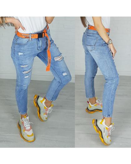 3590 New jeans мом голубой с царапками весенний коттоновый (25-30, 6 ед.) New Jeans