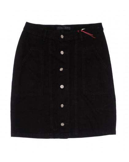 0415-3 V Relucky юбка джинсовая черная весенняя коттоновая (25-30, 6 ед.)  Relucky