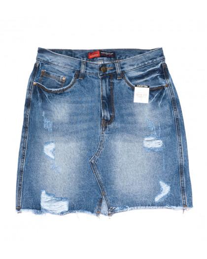 9939-2 V Relucky юбка джинсовая полубатальная синяя весенняя коттоновая (28-33, 6 ед.)  Relucky