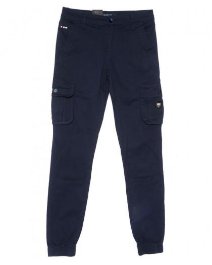 3052-А LS брюки мужские молодежные карго темно-синие весенние стрейчевые (28-36, 8 ед.) LS