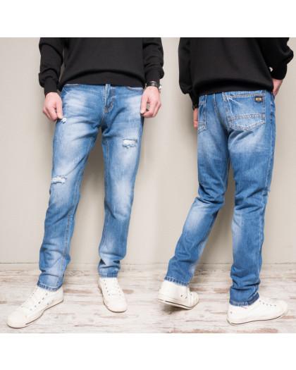 9903-3 R Relucky джинсы мужские с царапками синие весенние стрейчевые (29-38, 8 ед.) Relucky