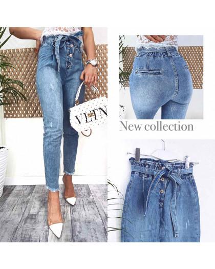 3589 New jeans мом голубой с царапками весенний коттоновый (25-30, 6 ед.) New Jeans