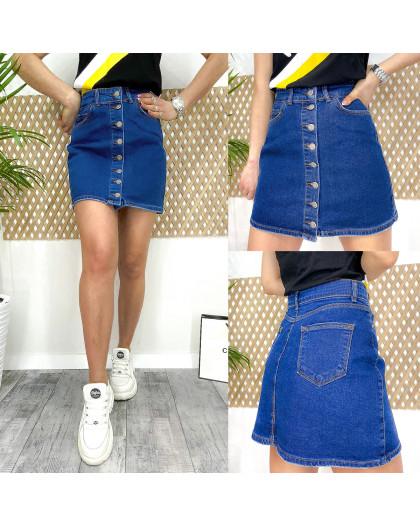 0064 Arox юбка джинсовая на пуговицах синяя весенняя котоновая (34-40, евро, 4 ед.) Arox