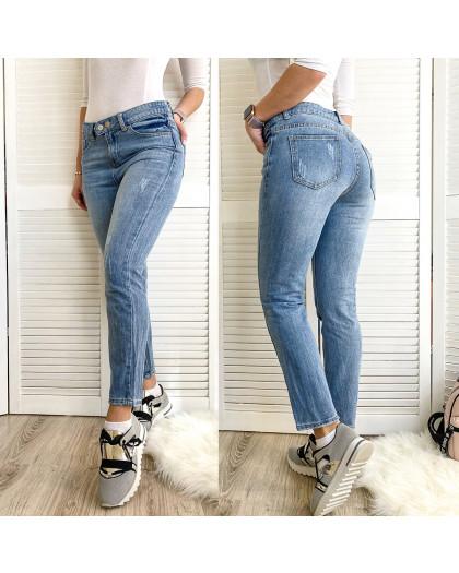 3619 New jeans мом с царапками синий весенний коттоновый (25-30, 6 ед.) New Jeans