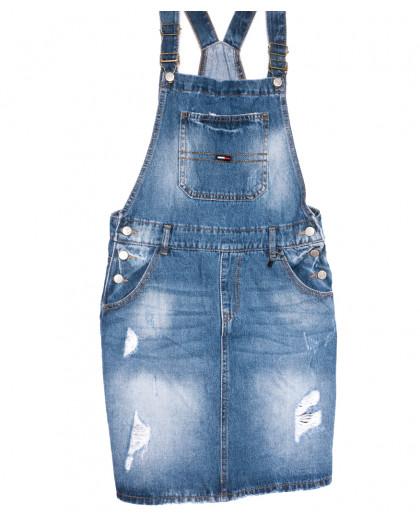 0883-2 Y Relucky сарафан джинсовый полубатальный с рванкой синий весенний коттоновый (28-33, 6 ед.) Relucky