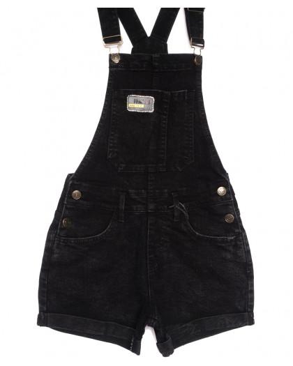 6604-2 Y Relucky комбинезон-шорты джинсовый черный летний стрейчевый (25-30, 6 ед.) Relucky