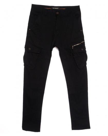 1760-13 M.Sara брюки карго мужские черные весенние стрейчевые (29-38, 6 ед.) M.Sara