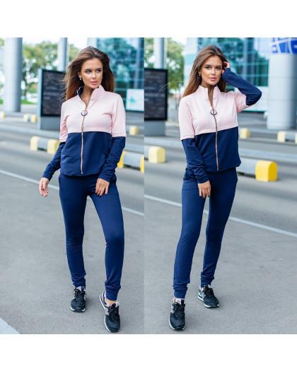 2045-04 розово-синий женский спортивный костюм весенний стрейчевый (42-48, 4 ед.) Костюм