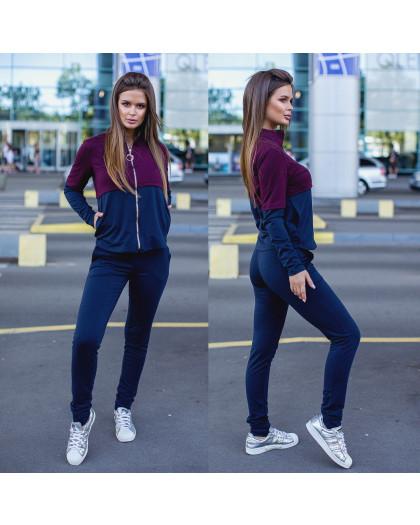 2045-02 синий-бордо женский спортивный костюм весенний стрейчевый (42,42,44, 3 ед.) Костюм
