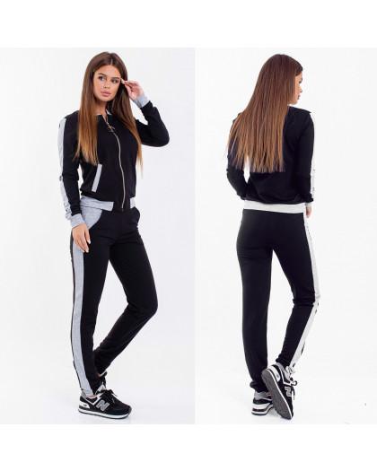 2038-02 серо-черный женский спортивный костюм весенний стрейчевый (42-46, 3 ед.) Костюм