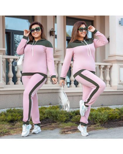 2039-02 хаки-розовый женский батальный спортивный костюм весенний стрейчевый (50-56, 4 ед.) Костюм
