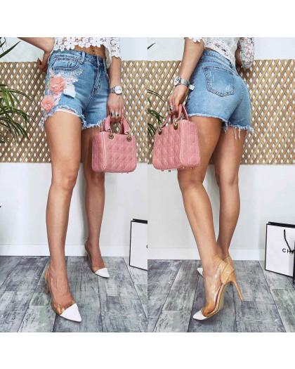 3704-03 New Jeans шорты джинсовые женские с аппликацией синие коттоновые (27,27,27, 3 ед.) New Jeans