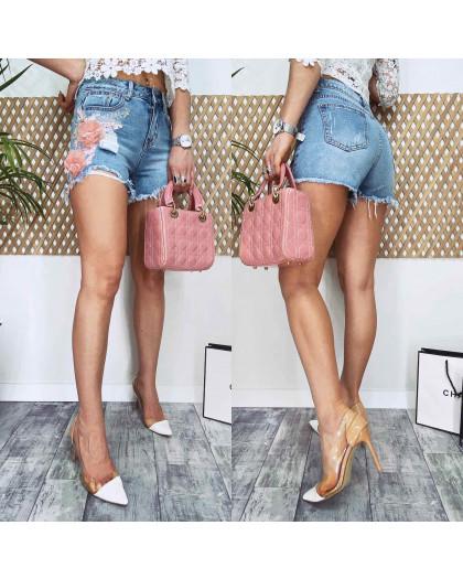 4073 Fleur шорты джинсовые женские с аппликацией котоновые (25-30, 6 ед.) Fleur