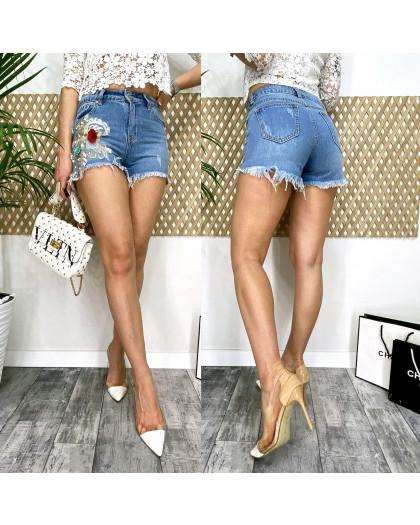 9863 Fleur шорты джинсовые женские с аппликацией котоновые (25-30, 6 ед.) Fleur