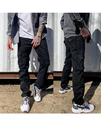 1672-1 черные Iteno брюки мужские карго весенние стрейч-котон (30-38, 6/12 ед.) Iteno