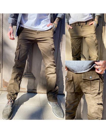 8813-2 коричневые Iteno брюки мужские карго цвета хаки осенние стрейчевые (30-38, 6/12 ед.) Iteno
