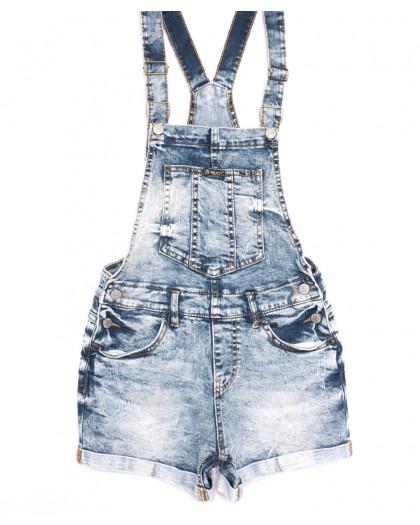 6623-5 Y Relucky комбинезон-шорты джинсовый с царапками синий стрейчевый (25-30, 6 ед.) Relucky