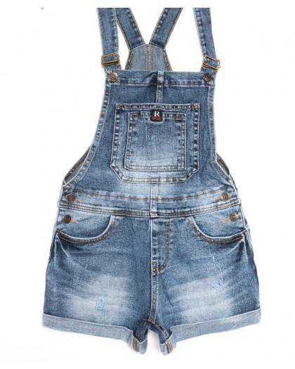 6612-2 Y Relucky комбинезон-шорты джинсовый с царапками синий стрейчевый (25-30, 6 ед.) Relucky