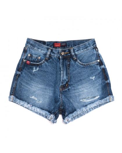 0048-15 А Relucky шорты джинсовые женские с рванкой синие коттоновые (25-30, 6 ед.) Relucky