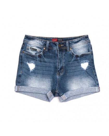 6673-5 А Relucky шорты джинсовые женские полубатальные с рванкой синие коттоновые (28-33, 6 ед.) Relucky