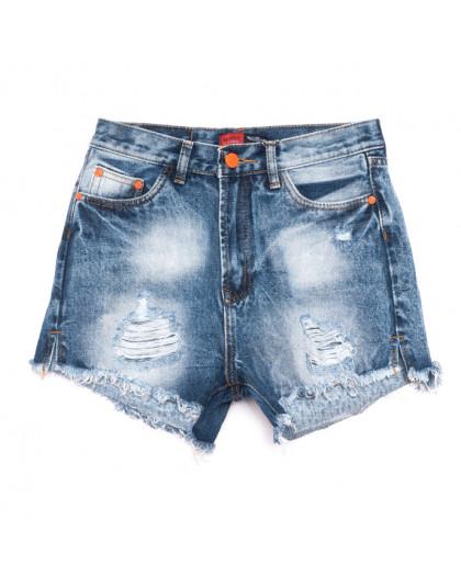0055-15 А Relucky шорты джинсовые женские с рванкой синие коттоновые (25-30, 6 ед.) Relucky