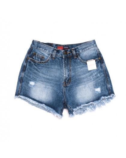 0056-15 А Relucky шорты джинсовые женские с рванкой синие коттоновые (25-30, 6 ед.) Relucky