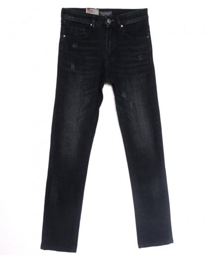 0640-В Likgass джинсы мужские молодежные с царапками  черные весенние стрейчевые (28-36, 8 ед.) Likgass