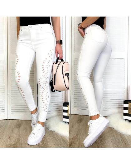 0435 Periscope джинсы женские белые с декоративной отделкой летние стрейчевые (36-42, евро, 8 ед.) Periscope