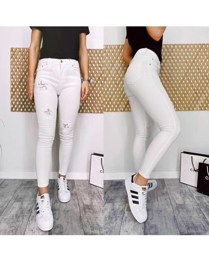 0420 Periscope джинсы женские белые с декоративной отделкой летние стрейчевые (36-42, евро, 8 ед.) Periscope