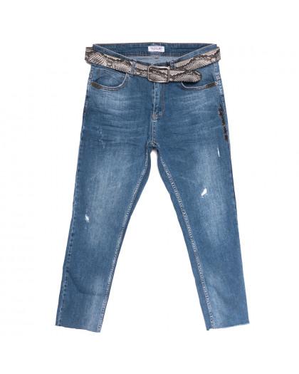 2072 Blue Fashion Woox джинсы женские полубатальные с рванкой синие весенние стрейчевые (29-34, 6 ед.) Woox