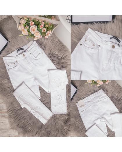 0423 Periscope джинсы женские белые с декоративной отделкой летние стрейчевые (36-42, евро, 8 ед.) Periscope