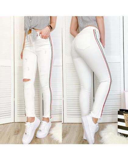 0433 Periscope джинсы женские белые с декоративной отделкой летние стрейчевые (36-42, евро, 8 ед.) Periscope