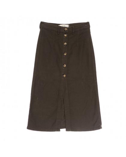 1799 Real Focus юбка джинсовая на пуговицах коричневая весенняя коттоновая (34-42,евро, 6 ед.) Real Focus