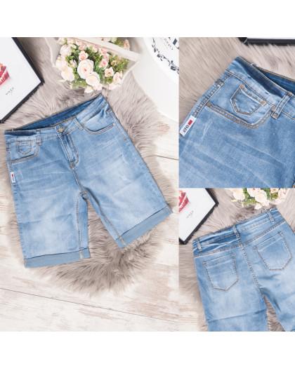 3737 New Jeans шорты джинсовые женские батальные с царапками синие стрейчевые (31-36, 6 ед.) New Jeans