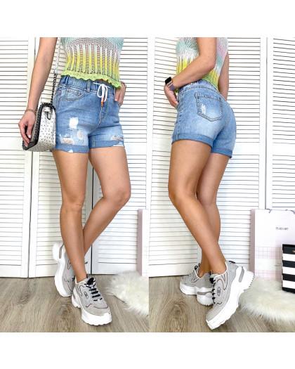 3712 New Jeans шорты джинсовые женские на резинке синие коттоновые (25-30, 6 ед.) New Jeans