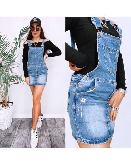 3677 New Jeans сарафан джинсовый с царапками синий весенний коттоновый (25-30, 6 ед.) New Jeans