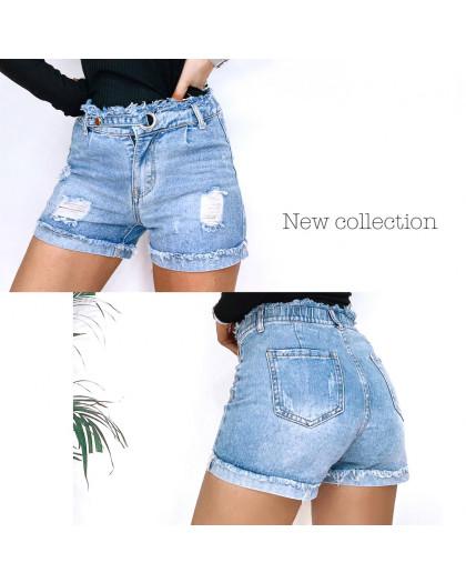 3711 New Jeans шорты джинсовые женские с рванкой синие коттоновые (25-30, 6 ед.) New Jeans