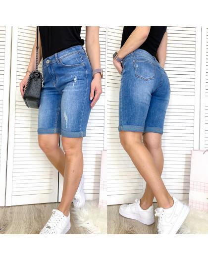 3736 New Jeans шорты джинсовые женские полубатальные с рванкой синие стрейчевые (28-33, 6 ед.) New Jeans