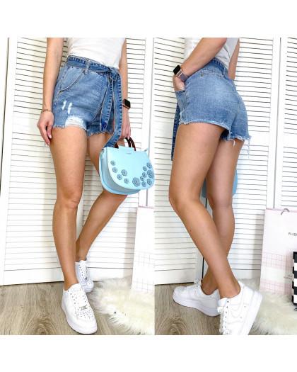 3719 New Jeans шорты джинсовые женские с рванкой синие коттоновые (25-30, 6 ед.) New Jeans