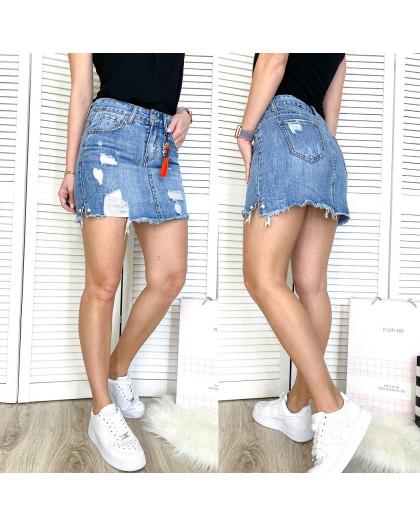 3702 New Jeans юбка джинсовая с рванкой синяя весенняя коттоновая (25-30, 6 ед.) New Jeans