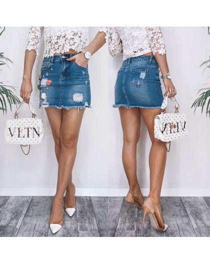 3731 New Jeans юбка джинсовая с рванкой синяя весенняя коттоновая (25-30, 6 ед.) New Jeans