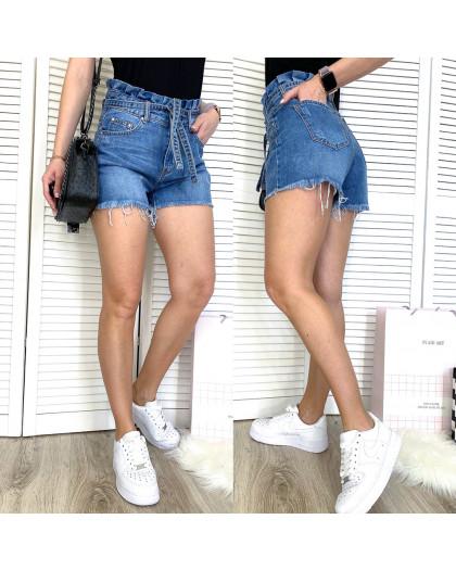 3703 New Jeans шорты джинсовые женские с царапками синие коттоновые (25-30, 6 ед.) New Jeans