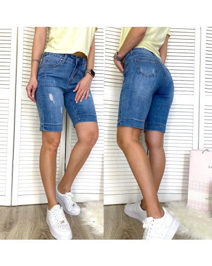 3738 New Jeans шорты джинсовые женские полубатальные с рванкой синие стрейчевые (28-33, 6 ед.) New Jeans