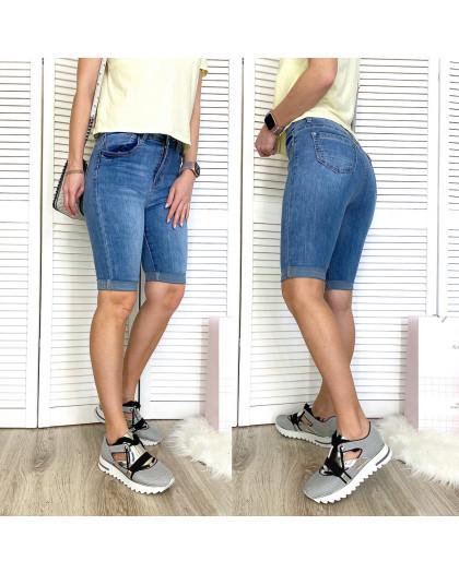 3748 New Jeans шорты джинсовые женские с царапками синие стрейчевые (25-30, 6 ед.) New Jeans