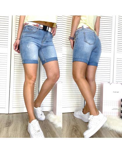 3721 New Jeans шорты джинсовые женские с царапками синие коттоновые (25-30, 6 ед.) New Jeans