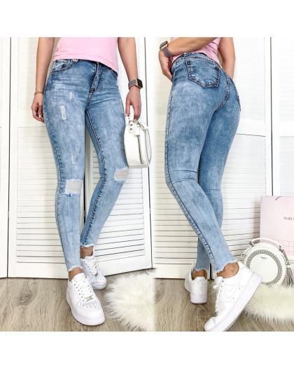 3604 New jeans американка голубая с царапками весенняя стрейчевая (25-30, 6 ед.) New Jeans