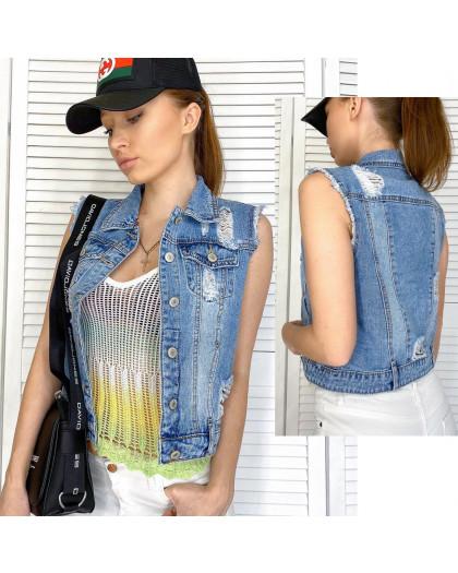 0821 New jeans жилетка джинсовая женская синяя весенняя коттоновая (ХS-XXL, 6 ед.) New Jeans