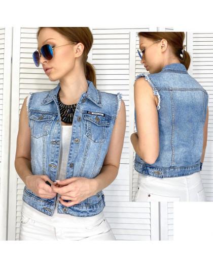 0822 New Jeans жилетка джинсовая женская синяя весенняя коттоновая (XS-XXL, 6 ед.) New Jeans