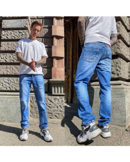 9903-3-01 R Relucky джинсы мужские с царапками синие весенние стрейчевые (29,30,31,32,38, 5 ед.) Relucky
