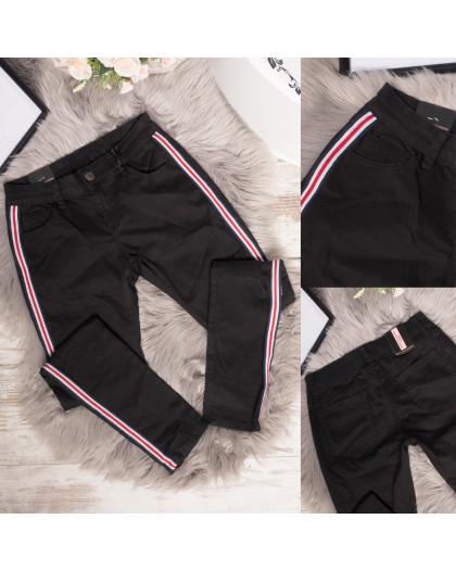 16897-01 джинсы женские с лампасами черные весенние стрейчевые (S-2,M-2,L-1, 5 ед.) Джинсы